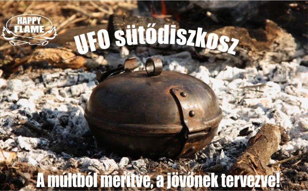 A HAPPY FLAME UFO sütődiszkosz egy praktikus szabadtéri főző-sütő szerkezet két acél félgömb alakú tálból áll, amelyeket egy csuklópánt és egy egyszerű zárszerkezet köt össze.